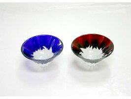彫刻硝子赤富士祝杯セット