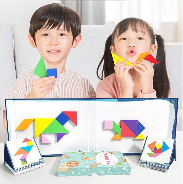 磁気パズル玩具お絵かきボードタングラムシルエットパズルアートマグネット磁石3D立体パズル遊びカラフル想像力空間DIYキーズ女