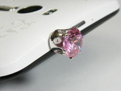 スマートフォン用ピアスキュービックダイヤモンド立爪ピンク10mmサイズイヤホンジャックアクセサリースマピスマホピアスsmartphone-010