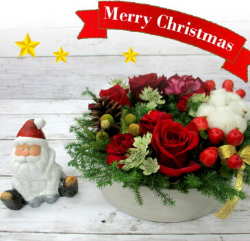 クリスマスリースアレンジメント サンタ人形付 クリスマス 赤 バラ 可愛い サンタ 結婚祝い 誕生日 プロポーズ
