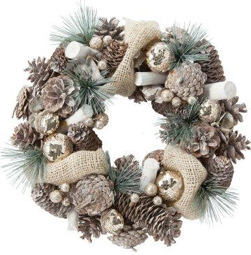 クリスマス 35CMファブリックシャイニーコーンリース @2400×2コセット CBD-262 《2018ds》| ドアリース アートフラワー 造花 X'mas 玄関 飾り 園芸 冬