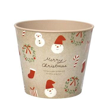 クリスマス CMデザインプラポット ラウンド M モチーフスタンプ @410x12コセット CM944-B-BE 《2018ke》 | 花器 ポット アレンジメント フラワー グリーン 多肉