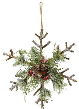 クリスマス ナチュラルスノースノーフレークハンガー @900×4コセット CBD-211 《2018ds》| オーナメント X'mas インテリア おしゃれ 装飾 冬 飾り