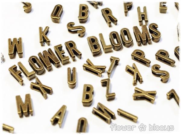 ビーズ アルファベット(幅広穴) 真鍮古美 1.5〜7mm×10mm N〜Z【ハンドメイドにピッタリのアクセサリーパーツ】