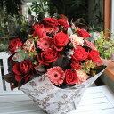 旬の花が醸し出すヨーロピアンStyleのアレンジメント レッド 赤  選べる花色 【誕生日】【母の日】【楽ギフ_包装】【楽ギフ_メッセ…