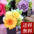 プレゼントプリザーブドフラワーアレンジメント桃、黄色、紫色、緑色系