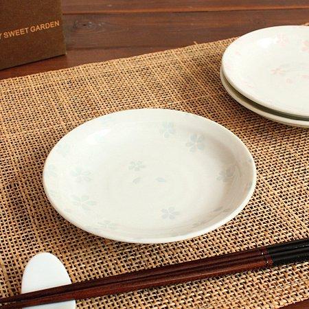 サクラ小皿(青)(和食器 お皿 小皿 プレート 醤油皿 業務用 業務用食器 アウトレット 訳あり 多治見美濃焼 日本製)
