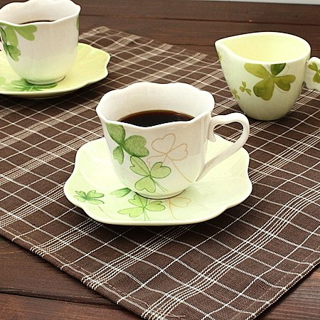 anan クローバー カップ&ソーサー (ラインゴールド)(アンアン 洋食器 カップ ソーサー 碗皿 コーヒー 紅茶 カフェ食器 カフェ風 業務用 業務用食器 アウトレット込み 訳あり)