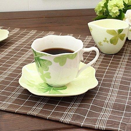 anan クローバー カップ&ソーサー (ラインシルバー)(アンアン 洋食器 カップ ソーサー コーヒー 紅茶 カフェ食器 アウトレット込み 訳あり)