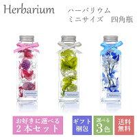 全3色からお好きに選べる2本入りギフトボックスセット ハーバリウム 母の日 誕生日 ギフト プレゼント ミニサイズ 四角瓶