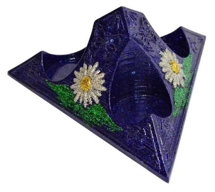 ボヘミアンオルゴナイト フラワーエッセンス3本用スタンド「再生の庭」 《オルゴナイト》 14×6cm[ヒーリングアイテム/パワーストーン/天然石/癒やしグッズ/ピラミッド/フラワーエッセンス/電磁波/浄化]