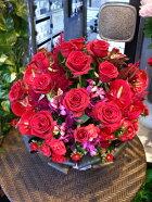 赤薔薇ラウンドアレンジ,生花,フラワーアレンジメント,当店人気商品,バラのアレンジメント,ラウンド,四方見,テーブル花,おもてなし,お茶会,食事会,新宿,四谷,花屋,シャムロック,楽天市場