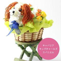 キャバリア犬の花ギフトまるでぬいぐるみみたい☆キャバリア・キング・チャールズ・スパニエルの生花フラワーアレンジメント大切な方への贈り物におすすめのカーネーションギフト[フラワーハウスしもで]