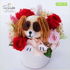 キャバリアブレンハイムのプリザーブドフラワーアレンジメント長く楽しめるフラワーギフト♪犬が大好きな方への贈り物にしもでオリジナル『ワンoneシリーズ』[フラワーハウスしもで]