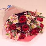 バラとアルストロメリアの花束