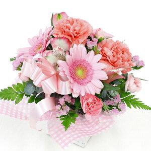 アレンジラウンドピンクあす楽送料無料お花ギフト贈る誕生日敬老お供え