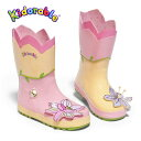 インポート長靴 ゴム製 女児 子供レインブーツ キッズ長靴 ピンク Kidorable(キドラブル)ロータスすいれん花のレインブーツ 子…