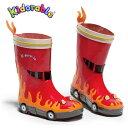子供 男児 長靴 レインブーツ レッド 赤 Kidorable(キドラブル)ファイヤーエンジン消防車のレインブーツ14cm 15cm 16cm 17cm 18c…