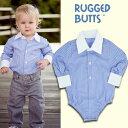 RUGGED BUTTS(ラゲッドバッツ)Yシャツロンパース(ブルーストライプ)6-12ヶ月(80cm)  12-18ヶ月(85cm)【楽ギフ_包装】ベビー…