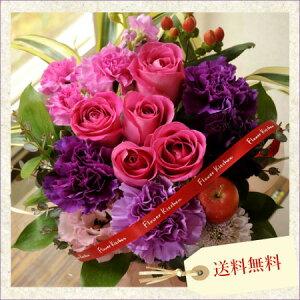 【誕生日 花 ギフト】ムーンダストとバラのアレンジメント【送料無料】【プレゼント】【ムーンダス…