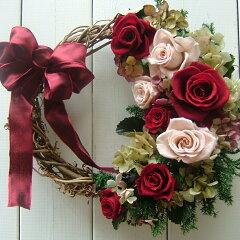 プリザーブドフラワーリース 誕生日 お祝い 各種記念日にプリザーブドフラワーリース ギフ...