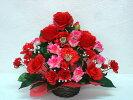 造花ボリューム満点!デザイナーおまかせアレンジメント2100【レッド】