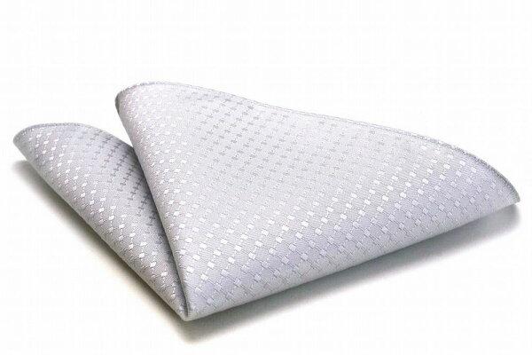 6e33b836519e8 MICHIKO LONDON  ミチコロンドン  グレーフォーマル シルク100%ポケットチーフ PO−168 シルバー  日本製