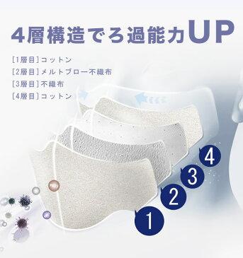 繰り返し洗える マスク 布 男女兼用 大人 子供用 立体 伸縮性 綿100% 飛沫感染予防 4層構造 ウィルス対策 花粉 防寒 PM2.5対策 10枚入り