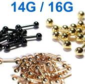【ボディピアス】ストレートバーベルブラックゴールドピンクゴールド16G(1.2mm)14G(1.6mm)