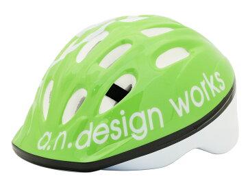 a.n.design works akm a.n.d キッズヘルメット グリーン Mサイズ:52〜54cm 4歳 5歳 6歳 自転車 子供用 CE適合
