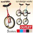 【あす楽】アウトレット 【16インチ】and UNI 一輪車 ブロックタイヤ カラーガード 自転車 a.n.design works