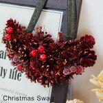 クリスマススワッグ(ハーフ)クリスマスXmas壁掛けリース飾りデコレーションオシャレ店舗玄関お部屋パーティギフトプレゼント
