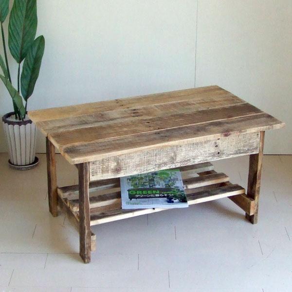 リサイクルウッド・幅80cmリビングテーブル 机 テーブル ローテーブル 木製 センターテーブル 座卓 ちゃぶ台 アンティーク風 天然木 無垢