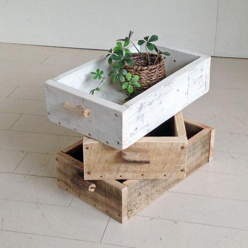 リサイクルウッドボックスS ホワイト木製箱 木製ボックス 木製BOX 収納箱 収納ボックス 収納BOX 収納ケース /ウッドボックス アンティーク風ボックス アンティーク風BOX 無垢 流木