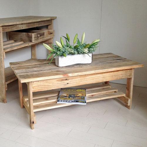 リサイクルウッド 幅100cmリビングテーブル 机 テーブル ローテーブル 木製 センターテーブル 座卓 ちゃぶ台 アンティーク風 天然木 無垢