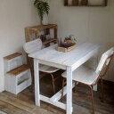 リサイクルウッド ワーキングテーブル ホワイト テレワーク 木製テーブル テーブル ダイニングテーブル カフェテーブル 作業台 木製デスク デスク 天然木 無垢 アンティーク風テーブル アンティーク風