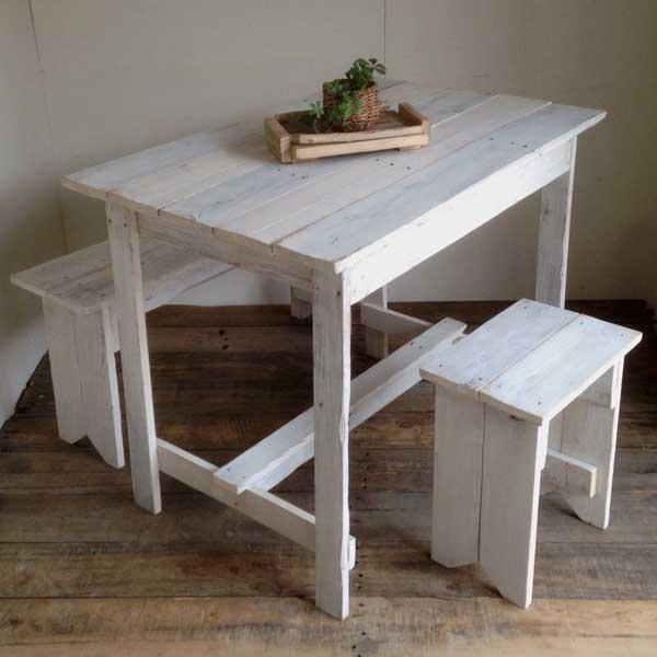 リサイクルウッド ワーキングテーブル ホワイト 木製テーブル テーブル ダイニングテーブル カフェテーブル 作業台 木製デスク デスク 天然木 無垢 アンティーク風テーブル アンティーク風