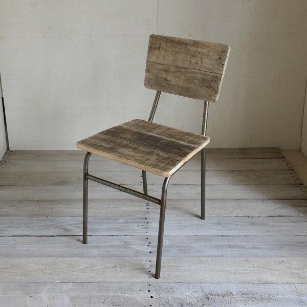 リサイクルウッド ダイニングチェア スクエア 食卓椅子 スチール脚 アンティーク風 レトロ 無垢 天然木