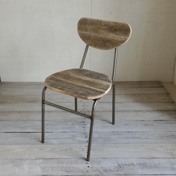 リサイクルウッド ダイニングチェア ラウンド食卓椅子 スチール脚 アンティーク風 レトロ 無垢 天然木