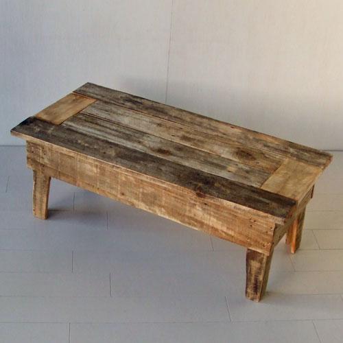 リサイクルウッド・玄関スツール木製 木製テーブル ベンチ 踏み台 天然木 無垢 アンティーク風