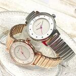 2層構造の文字盤が可愛いジャバラタイプの腕時計です。