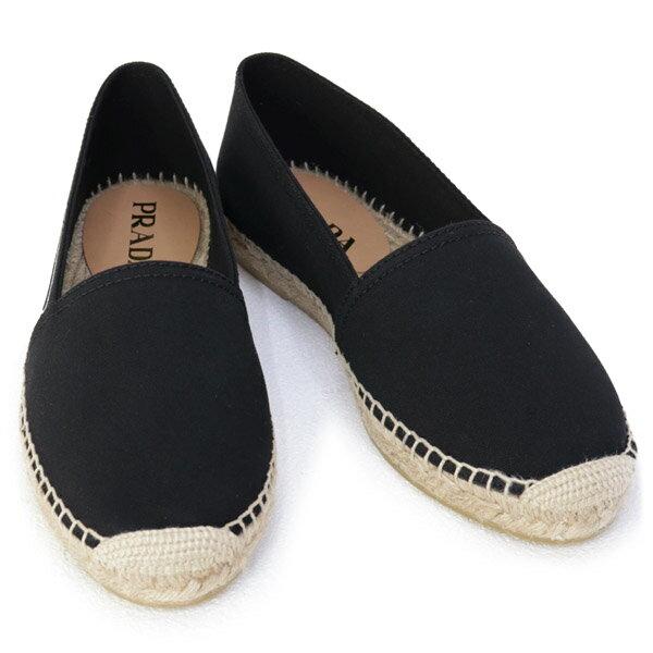 プラダPRADA靴メンズギャバジンエスパドリーユスリッポンブラック(2DE125GUDF0002NERO)