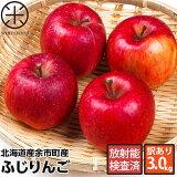 【12/10(月)以降、収穫次第お届け】北海道余市産 りんご リンゴ3kg(訳あり品・品種:ふじ)【放射能検査済】