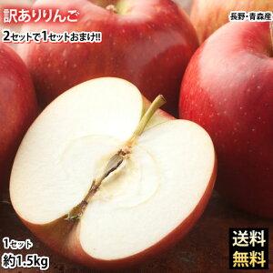 りんご 訳あり リンゴ 送料無料 約1.5kg 長野・青森県産 2セットで1セットおまけ お取り寄せ お取り寄せグルメ サンふじ つがる ジョナゴールド ふじ 林檎