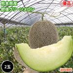 メロン送料無料肥後グリーンメロン優品2玉M〜2L熊本県産肥後グリーン