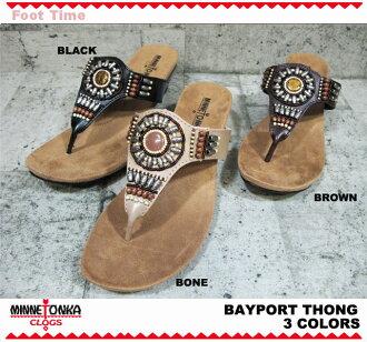 Minnetonka sandal MINNETONKA BAYPORT THONG 71102 3COLORS BLACK BONE BROWN