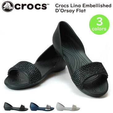 クロックス リナ エンベリッシュド ドルセー ウィメン 204361 レディース サンダル Women's Crocs Lina Embellished D'Orsay Flat 176 060 488 オープントウ クロスライト (1806)