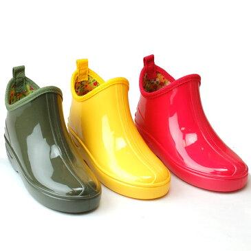 子供用 ガーデニング風 ショートレインブーツ F-3J キッズ レインブーツ レッド イエロー モスグリーン 長靴 無地 ショート ガーデニング 滑りにくい maruryo health 防水 日本製 (1805)(E)