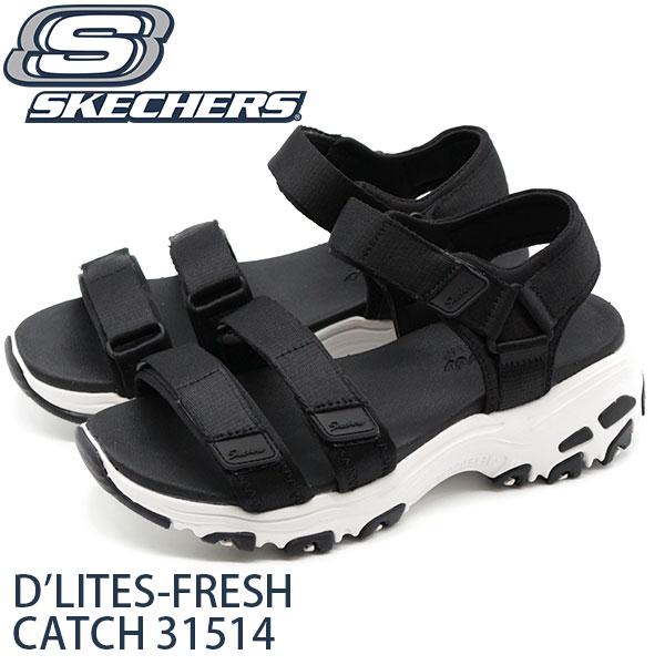 スケッチャーズ サンダル レディース 靴 スポーツ 黒 ブラック 軽量 軽い SKECHERS D'LITES-FRESH CATCH 31514画像