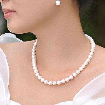 【結婚式/冠婚葬祭OK】天然石 シェルパール★ネックレスとイヤリング 約6mm 〔 天然石 パワーストーン アクセサリー 〕